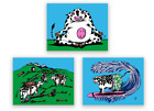 JIM POLLOCK COWS ON VACATION WATERWHEEL CHARITY SET SCREEN PRINT ART POSTERS LE