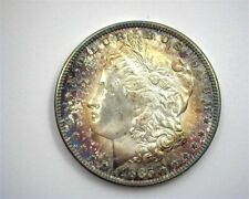 1885 MORGAN SILVER DOLLAR GEM UNCIRCULATED IRIDESCENT TONING!