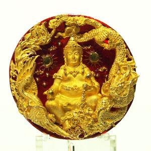 Thai Amulet CAI SHEN YE Coin Phra Tanabodi V.SeteeTalordChad Samrit Red 財神爺