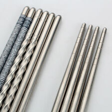 3 Pair Reusable Chopsticks Metal Korean Chinese Stainless Steel Chop Sticks Set