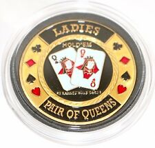 Ladies Pair of Queens Hold'em Poker Coin Chip Card Guard Protector Cover New