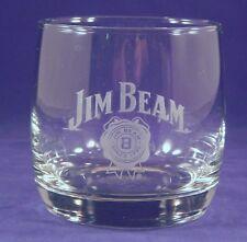 Jim Bean 10oz Whiskey Etched Glass Tumbler