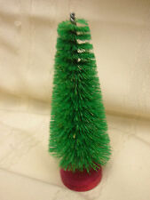 "Vintage Bottle Brush Tree 5 1/2"" Tall Green and Red stand"