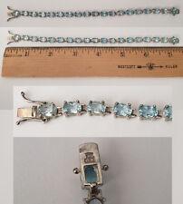 925 Sterling Silver Oval Blue Topaz Tennis Bracelet br125