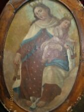 ANTIQUE OIL PAINTING ON PAPER OVER MASONITE VIRGIN MARY WITH BABY JESUS FRAMED