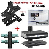 """Double DVD Glass Shelf Sky Box + 10 - 42"""" TV Wall Bracket Tilt Swivel 3D LCD LED"""