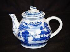 Vintage Style Art Ceramic Asian Scene Cobalt Blue & White Tea Pot Butterfly Lid