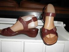 LNC* Sz 8 NUTURE; Brown Criss Cross Leather & Velcrro Ankle Strap Sandals Shoes