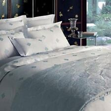 Yves Delorme Silence Silver Queen Duvet Blue Medallions 100% Cotton Sateen NEW