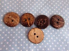 15mm Wooden Coconut Shell Wooden Buttons 2 Hole in Packs OF 2, 5 OR 10