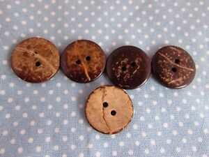20mm Wooden Coconut Shell Wooden Buttons 2 Hole in Packs of 5, 10 or 20