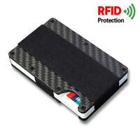 Carbon Fiber Metal RFID Blocking Slim Wallet Credit Card Holder Money Clip Purse