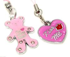 #6156 - PINK BEAR & HEART TABLET CELL PHONE DUST PLUG SHOE OR PURSE CHARMS -WOW!