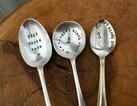 Vintage stamped spoon - Custom design, Tablespoon size, gift wrapped, gift love