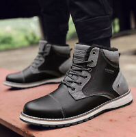 Mens Leather Oxfords High Top Casual Shoes Winter Wool Lined Snow Boots Sneakers