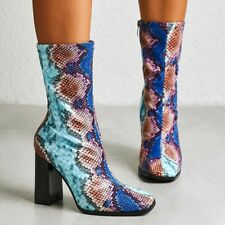 Womens High Block Heels Snakeskin Printed Square Toe Ankle Riding Boots Shoes