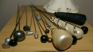 Vintage Ceramic Hat Pin Holder Made in England & 12 Vintage Pins various