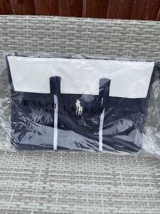 Ralph Lauren Large Blue/White Holdall, Gym, Travel, Weekend, Duffle Le Sac Bag