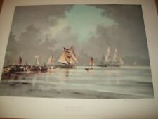 calm water still sails by rowland hilder ships