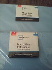 MAINSTRAYS 2 Pillow Cases Soft and Comfortable Microfiber Pillowcases Light Blue