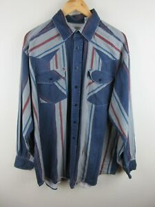 Western Plains Trading Mens Shirt Size XL Long Sleeve Button Up Vintage Cowboy