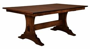 """Amish Mission Dining Table Rectangle Trestle Solid Wood Benjamin 42""""x 72"""""""