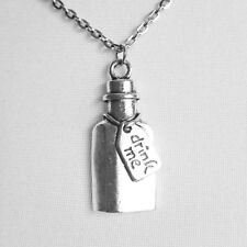 Silver Pewter Alice in Wonderland Drink Me Potion Bottle Necklace Charm