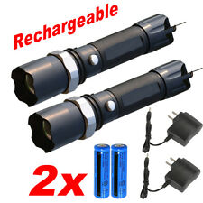 2Pack 100000Lumens Powerful Police Tactical LED Flashlight Torch Rechargeable US
