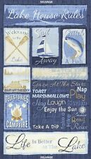 "24"" Fabric Panel - Timeless Treasures Lake House Rules Blue Nautical Wallhanging"
