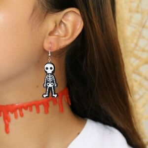 AU Black And White Skeleton Pendant Halloween Spooky Silver Plated Hook Earrings