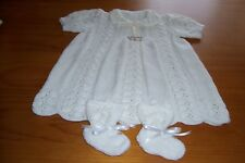 HEIRLOOM IVORY ACRYLIC  LACE PATTERN DRESS ,AND BOOTEE'S (HAND KNITTED)