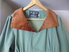 COLLECTIF OLIVE GREEN DRESS - BROWN VELVET COLLAR - VINTAGE INSPIRED - SIZE 14