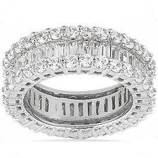 Round & Baguette Diamond Ring 14k White Gold Eternity Band F-G Vs 5.51 tcw