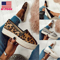 Womens Espadrilles Flatsform Platform Loafers Pumps Ladies Casual Slip On Shoes