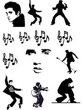 Elvis Cake Topper Silhouettes  A4 Edible Printed Iced Sheet