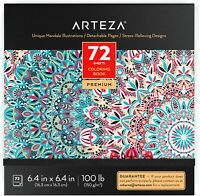 ARTEZA Coloring Book, Mandala Illustrations, 72 Sheets