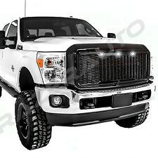 11-16 Ford Super Duty Raptor Gloss Black Mesh Grille+Shell+White 3x LED light