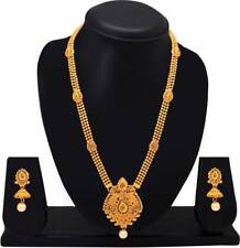 Long Chain South Indian Traditional Gold Tone  Necklace Earrings Wedding Jewelry