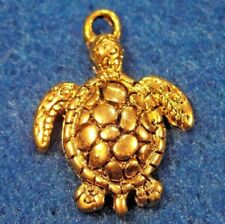 10Pcs. Tibetan Antique Gold Turtle Tortoise Charms Pendants Jewelry Finding Tf24