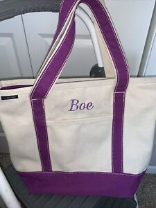 Lands' End large canvas tote beige purple trim name Boe on front zip top