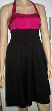 NEW LOOK TALL Pink Black Belted Halter Neck Summer Party Dress Size 10