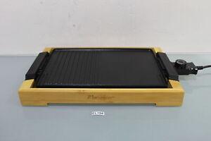 Bestron Teppanyaki Grillplatte mit Bambus-Gehäuse, Elektro-Grillplatte (EL194-B4
