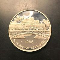Singapore 1 Ounce 1986 Proof CAM SILVER 1 Oz 999 Double Dragon Railroad SCARCE