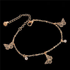 Hot Sale Fashion Rose Gold Butterfly Crystal Fine Thin Chain Anklet Love Present