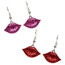 Bluebubble HOT LIPS Glitter Dangle Earrings Kitsch 80s Sweet Love Valentine Gift