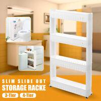 Slim Slide Out Trolley Storage Holder Rack Stand Organizer Cart Kitchen Bathroom
