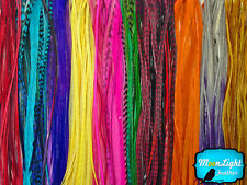100 Pieces - Wholesale Colorful Thin Long Rooster Hair Extension Feathers (bulk)