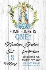 Peter Rabbit Birthday Boy Invite Party Bunny 1st Blue Timber Any Age Invitation