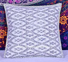 Hand Block Print Canvas Cotton Indian Cushion Cover Reversible Pillow Case 16''
