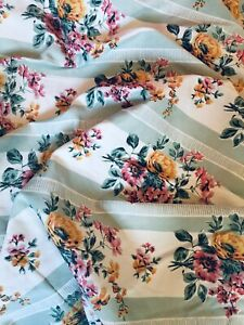Vintage French Mademoiselle Fabric Satinised Material Upholstery Curtain fabric!